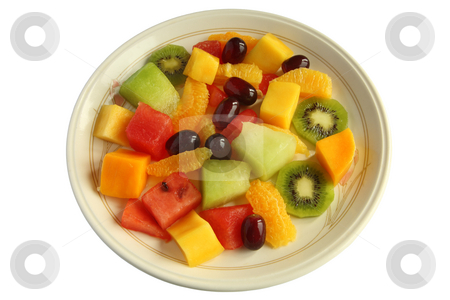Healthy mixed fruit salad on a plate isolated over white. stock photo, Healthy mixed fruit salad on a plate isolated over white. by Stephen Rees