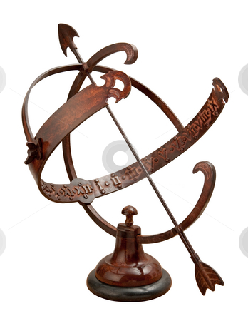 Armillary Sundial stock photo, Armillary Sundial isolated on white with a clipping path by Danny Smythe