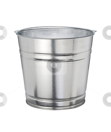 Bucket stock photo, Aluminum Bucket isolated on a white background by Danny Smythe