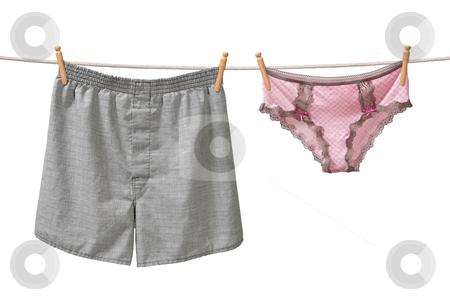 Underwear Hanging on a Clothesline stock photo, Underwear Hanging on a Clothesline isolated on white background by Danny Smythe