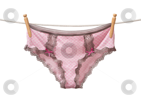 Panties on a Clothesline stock photo, Panties on a Clothesline isolated on a white background by Danny Smythe