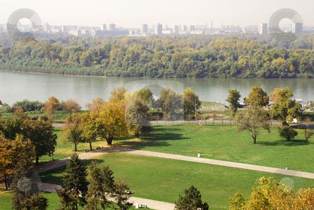 River landscape Belgrade stock photo, General urban view of Danube in autumn colors in Belgrade by Julija Sapic
