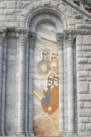 Lourdes stock photo, Close up of the Cathedral of Lourdes in France during the Jubilee way...150th Anniversary of the Apparitions by Serge VILLA