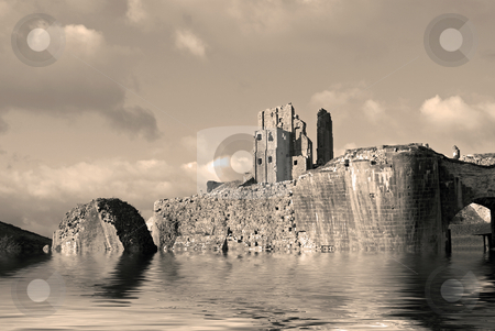 Ruins stock photo, Composite of a castle ruin by Paul Phillips