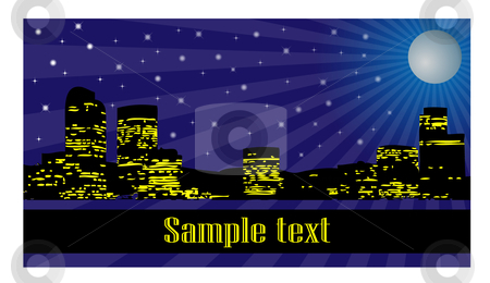 City at night stock vector clipart,  by Mihaly Pal Fazakas