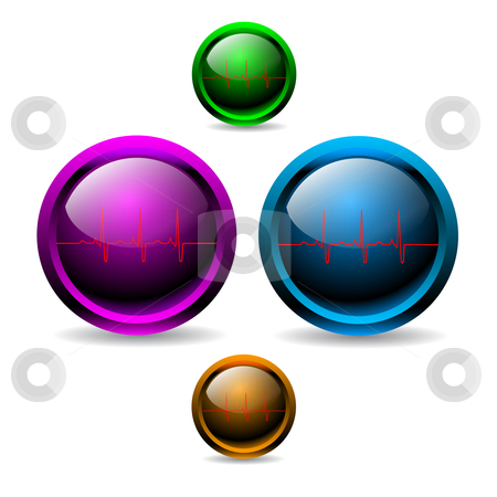 Shiny EKG buttons stock vector clipart,  by Mihaly Pal Fazakas