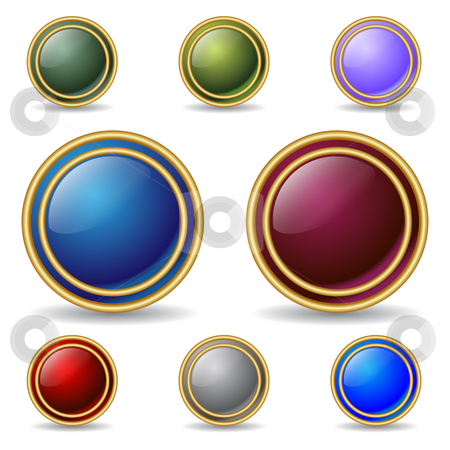 Color buttons with double gold rings stock vector clipart,  by Mihaly Pal Fazakas