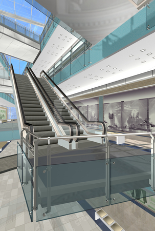 Shopping Mall 1 stock photo, Detailed render of shopping mall (computer generated) by Serda Yilmaz