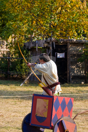 Italian Medieval Archery Tournament stock photo, Event that takes place every year in a medieval burgh in the Northern Italy, Grazzano Visconti. by Luca Bertolli