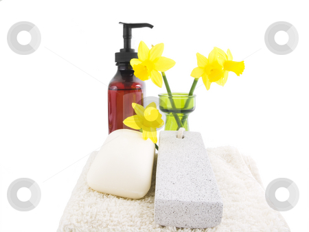 Spa Setting stock photo, Spa setting with a white background and flowers by John Teeter
