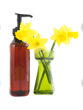Soap and Daffodils stock photo, Soap and Daffodil flowers on a white background by John Teeter