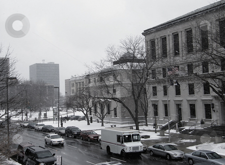 Erie Street Toledo Ohio stock photo, Erie Street Toledo Ohio on a bleak and snowy Winter's day. View from upper level of a parking garage. by Dazz Lee Photography
