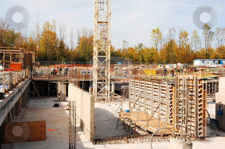 Foundation for a high rise. stock photo, A big foundation hole for an new high rise in the city. by Horst Petzold