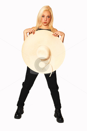 Gorgeous blond girl. stock photo, Happy young girl smiling with a big beige straw hat, black top and jeans. by Horst Petzold