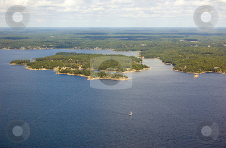 Island stock photo, Bird's-eye view on lake and islands by Pavel Cheiko