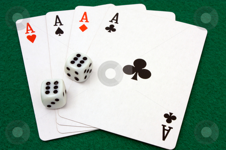 Four Aces and Double Sixes stock photo, Card hand of four aces and dice rolled to double sixes by Terry McClary
