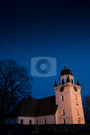 Old Church stock photo, An old church a cold night . by Peter Soderstrom