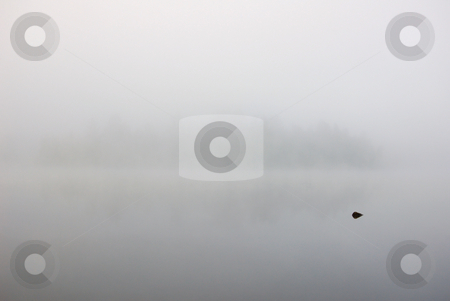 Strong fog stock photo, Strong fog above lake in the morning by Pavel Cheiko