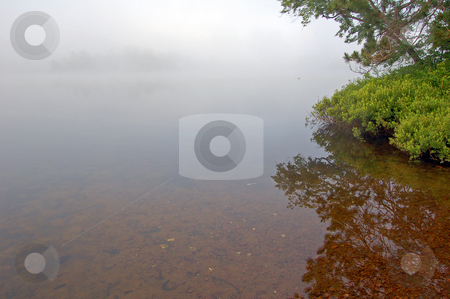 Lake stock photo, Strobg fog above lake in the morning by Pavel Cheiko