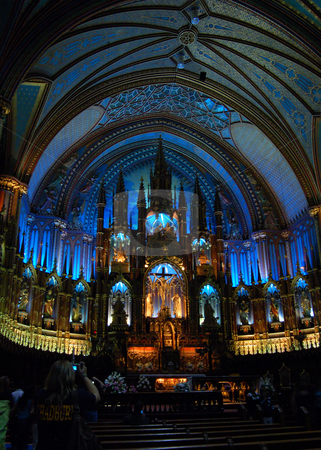 Basilica stock photo, Interier of Notre-Dame Basilica in Montreal, Quebec. by Pavel Cheiko