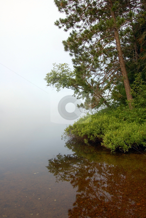 Lake stock photo, Strobg fog above lake in the morning by Pavel Cheiko