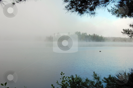 Lake stock photo, Strong fog above lake in the morning by Pavel Cheiko