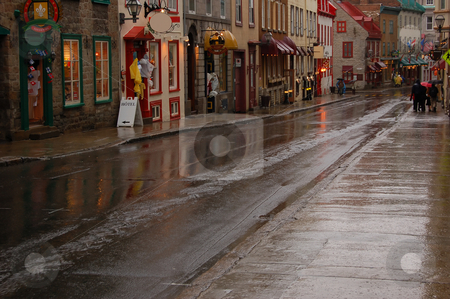 Old city stock photo, Narrow street in old city in rainy day by Pavel Cheiko