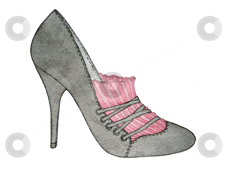 High heel grey shoe stock photo, High heel grey and pink shoe isolated on white by Julia Shentseva