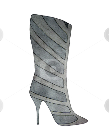 High heel grey boot stock photo, High heel grey boot isolated on white by Julia Shentseva