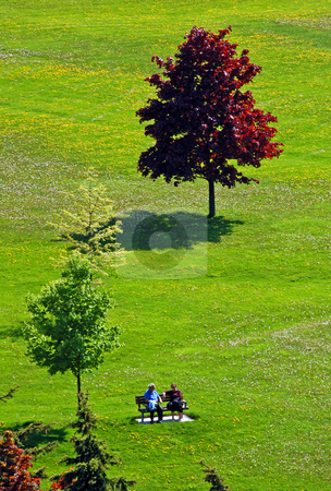 Relaxation stock photo, Two old people on the bench in park by Pavel Cheiko