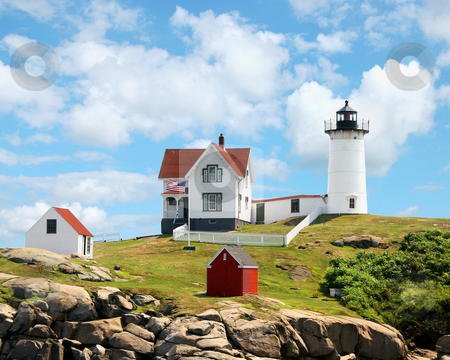 Nubble Light York Maine stock photo, Nubble Light York Maine Lighthouse off the coast of York Beach Maine by Maria OBrien