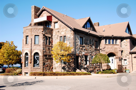Old restaurant stock photo, An old restaurant in the fall an the lake Ontario with heavy stone walls. by Horst Petzold