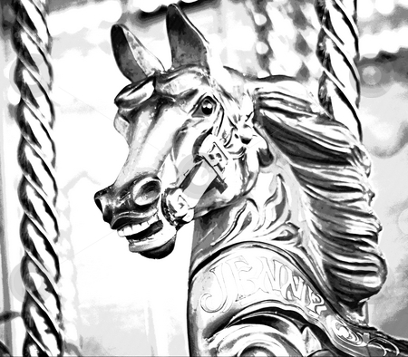 Carousel horse stock photo, A wooden horse on a carousel ride by Norma Cornes