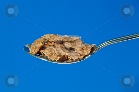 Breakfast cereal stock photo, A spoonfull of breakfast cereal overflowing with milk by Norma Cornes