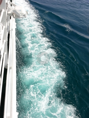 Waves in the ocean. stock photo, Big waves on the side of the cruise ship in the Mediterranean sea. by Horst Petzold