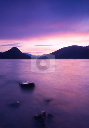 Rimrock Reflections stock photo, A colorful sunset over the waters of Rimrock Lake by Mike Dawson