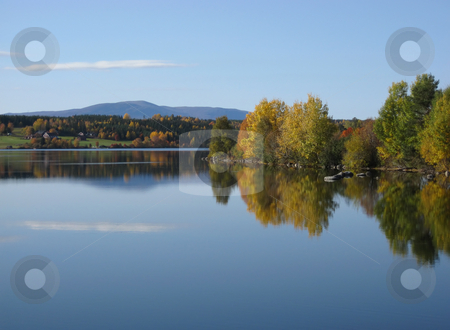 Reflection lake stock photo, Trees and colorful leaves reflecing on water under the blue sky by Ingvar Bjork