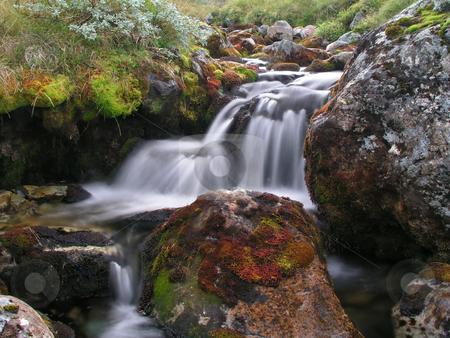 Mountain river stock photo, Mountain river in autumn by Ingvar Bjork