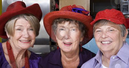 Three Senior Women Wearing Red Hats stock photo, Three friendly senior women wearing red hats by Scott Griessel
