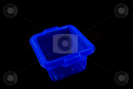 Blue boxes stock photo, Pictures of blue plastic clear containers for storage by Albert Lozano