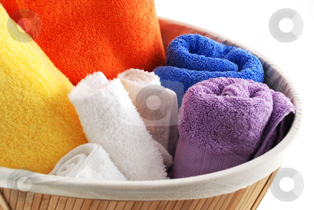 Bath towels stock photo, Stock pictures of bath towels and wash clothes by Albert Lozano