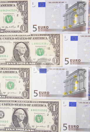 Notes stock photo, Arranged dollars and euro made as background by Jolanta Dabrowska