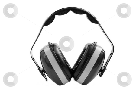 Earmuffs stock photo, Heavy duty ear muffs. Grey color. Isolated on white by Martin Darley