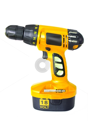 Cordless Drill stock photo, A bright yellow cordless drill. Isolated on white by Martin Darley