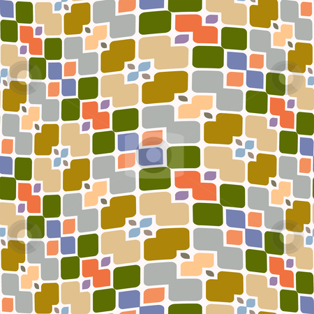 Square and flower pattern stock photo, Abstract seamless texture with block shapes in pastel colors by Wino Evertz