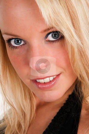 Portrait of a beautiful girl stock photo, Portrait of a beautiful blue eyed girl, close up. by Flemming Jacobsen