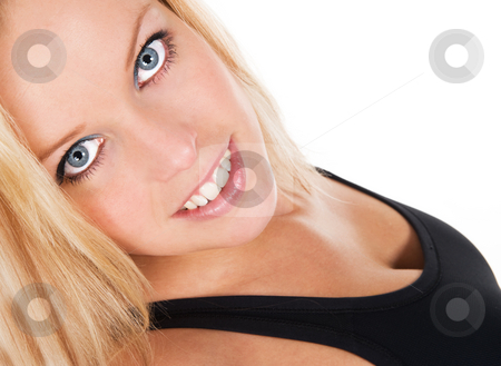 Blond blue eyed fitness girl stock photo, Beautiful blond blue eyed fitness girl, seen against white background by Flemming Jacobsen
