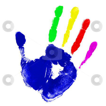 Multicolor hand  stock photo, Print of hand with multicolor fingers by Laurent Renault