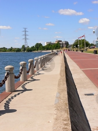 Promenade on lake   stock photo, A beautiful clean promenade on the lake Ontario in Burlington on a greet sunny day. by Horst Petzold