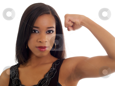 Young black woman showing toned biceps portrait stock photo, Portrait of black woman showing strong left arm by Jeff Cleveland